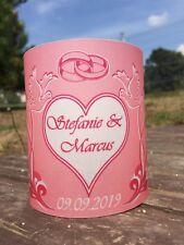 4 xTischlicht Hochzeit Tischdeko Windlicht Deko mit Namen, Datum Gastgeschenk