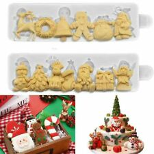Christmas Deer Silicone Fondant Mold Cake Sugarcraft Topper Snowman Xmas Mould