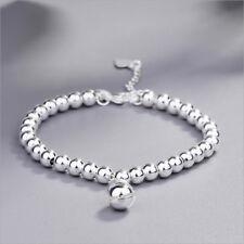 Lucky Sliver Beads Women Bell Pendant Beaded Bracelet Silver Bangle Jewelry Girl