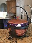 Longaberger Halloween Small Cauldron Basket Combo w Wrought Iron stand Liner Lid
