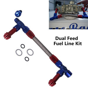 "4150 Fuel Line Kit 8AN Male Flare To 7/8"" Braided Carburetor Dual Inlet Line Kit"