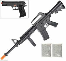 Colt M4 R.I.S Air Rifle & 1911 Colt Pistol Sprin Airsoft Combo Pack Free 2000 BB