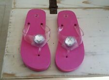 New Pink Women's Large Rhinestone Bling Thong Flip Flops Sz. 9/10