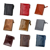 Mens Wallet RFID Blocking Genuine Leather Credit Card Holder Zip Coin Purse New