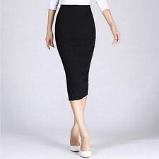 Womens High Waist Bodycon Skirts Tube Stretch Pencil Midi Skirt Ladies Dress
