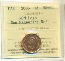 "2006 Canada One Cent  Non Magnetic ""RCM Logo"" ICCS MS-66; RED"