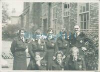 1950's Civil Defence Volunteers In Uniform Group Photo 6.5 x 5 inches original