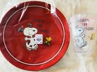 Pottery Barn Kids Peanuts Snoopy Plate Tumbler Cup Thanksgiving Set 2 Dancing