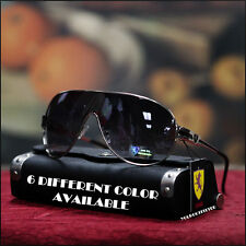 Khan Men's Shield Sunglasses Driving Bike Sports Fashion Casual Silver/Black