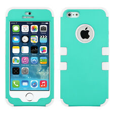 For Apple iPhone 5S SE Rubberized IMPACT TUFF HYBRID Case Skin Cover Teal White