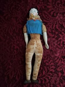 Antique Unmarked China Head Doll On Cloth Body TLC
