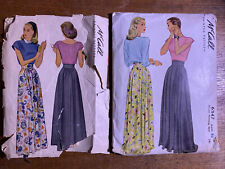 1940s Vintage Sewing Pattern Lot McCall 6347 And McCall 5943 Sz 32, 26