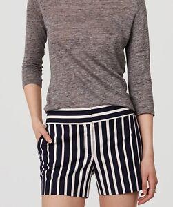 "Ann Taylor LOFT Dobby Stripe Riviera Shorts With 4"" Inseam Size 14 Fresh Navy"