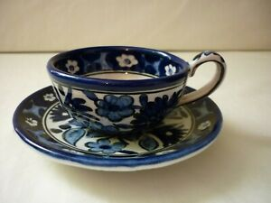 Vintage Ikaros Pottery Hand Painted Cup and Saucer Rhodes Greece