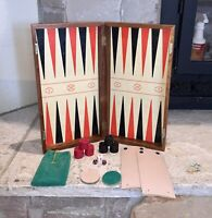 """Vintage Backgammon Board Game Solid Wood 17"""" Folding Table Antique + 3 Dice"""