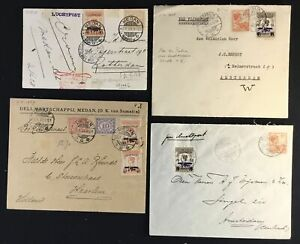 DUTCH INDIES - NED INDIE -1928/1929 -- 4 x -AIRMAIL COVER /CARD - F/VF-- @11