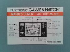 NINTENDO GAME&WATCH MARIO´S CEMENT FACTORY ML-102 ORIGINAL INSTRUCTION MANUAL!!!