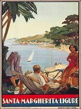 Genoa Santa Margherita Ligure Italy Vintage Travel Advertisement Poster Print 2