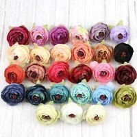 "20X 2"" Artificial Silk Flower Heads Fake Rose Camellia Peony Bouquets DIY Decor"