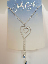 Jody Coyote necklace 18 inch w/2 inch extender silver w/silver hearts pendant FS