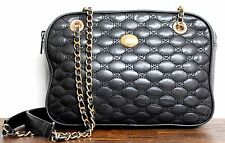 VTG MONET QUILTED BLACK GENUINE LEATHER CHAIN STRAP SHOULDER BAG HANDBAG PURSE