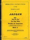 JAEGER 600 2 STAGE PORTABLE AIR COMPRESSOR OPERATOR'S PARTS MANUAL IB-66-5