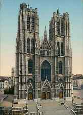 Bruxelles. L'église Sainte-Gudule. PZ vintage photochromie, photochrom photoch