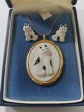 Vintage HMK CDS Hallmark Cards cat necklace w/earrings