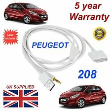 Peugeot 208 3GS 4 4S iPhone iPod USB & Aux 3.5mm USB Cable in white