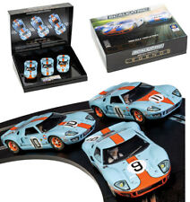 Scalextric C3896A Ford GT40 1968 Gulf Triple Pack Slot Car 1/32 Le Mans