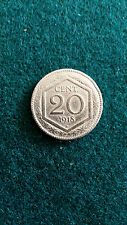 Moneta 20 centesimi esagono 1918, bordo liscio con ribattuta di vecchio conio