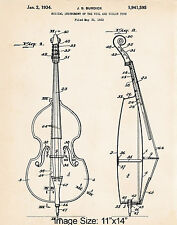 "1934 Burdick Cello Drawing 11""x14"" Patent Artwork Print Gift Ideas Presents"