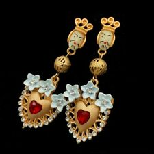 Vintage Baroque Style Floral King Head and Red Heart Sicilian Earrings Gold Tone