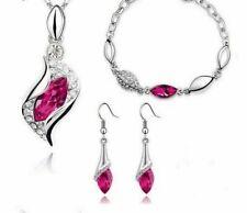 Silver Plated Ladies Women Pendant Set Jewellery Stud Earrings Necklace Chain