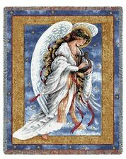 GUARDIAN ANGEL PLAYING HARP CELESTIAL LIGHT TAPESTRY THROW AFGHAN BLANKET 54x70