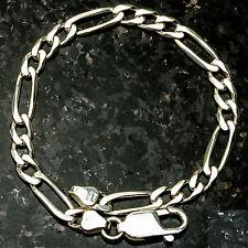 """Figaro150- 7"""" 5mm Heavy 8 Gram Italian Link .925 Sterling Silver Bracelet 7"""""""