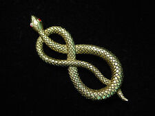 """JJ"" Jonette Jewelry Antique Gold Pewter 'TWISTED Jeweled Eye SNAKE' Pin"
