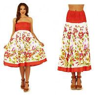 Red & White Floral Print 100% Cotton Summer Beach Dress Midi Maxi Skirt Size 14