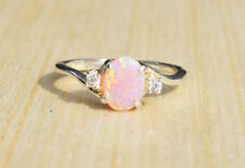 2.3Ct Pink Fire Opal Women 925 Silver Ring Gemstone Engagement Wedding Size 5-11