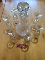 Cut Glass Glass Decanter with Lid & 7 Luminarc glasses Verrerie D'Arques France