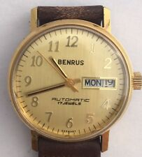 VINTAGE BENRUS AUTOMATIC DAY DATE  MENS WATCH NOS