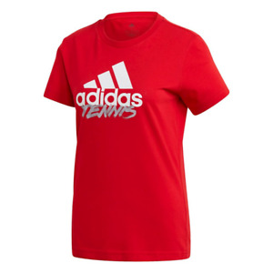 Adidas Women's Tennis Graphic Logo T-Shirt, Scarlet