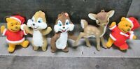 Vintage Disney Christmas Ornament Lot Flocked Plastic Bambi Pooh Chip and Dale