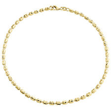 10K Yellow Gold 2.65mm Barrel Crystal Cut Italian Bead Bracelet / Anklet 10 Inch