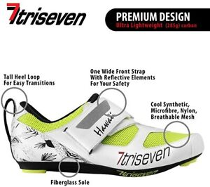 TriSeven Premium Triathlon Cycling Shoes Lightweight Unisex with SHIMANO Cleats!
