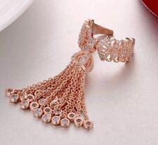 18k Rose Gold GP Haute Couture Fringe Tassel Ring made w Swarovski Crystal Stone