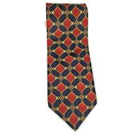 HUGO BOSS Red Blue Gold Interlocking Square Chains Pattern Mens Necktie Tie 57""