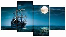 Night Moon Pirate Sailing Ship Wall Art Painting Canvas Picture Seascape Frame