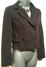 Size 8 Casual Jacket Elbow Patches Cropped Navy Blue  Brown Forever 21 Women's