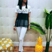 Femmes Coco Nuts Tutu Maille Volants Top Women/'s Summer Fashion Coton T Shirt Tee